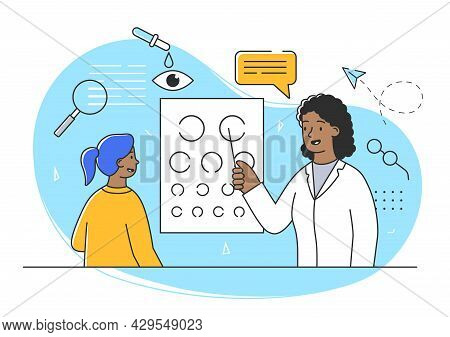 Young Female Character At The Doctors Appointment. Cheerful Girl Is Having Her Eyesight Checked By D