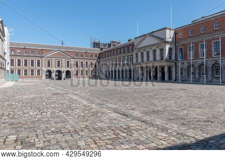 Inner Court Of Dublin Castle In Summer 2021 With No People.