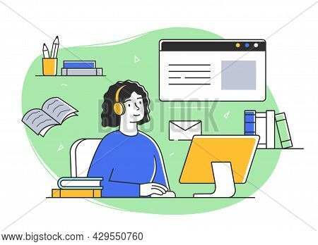 Young Female Character Is Studying Remotely Online. Male And Female Students Taking Part In Activiti