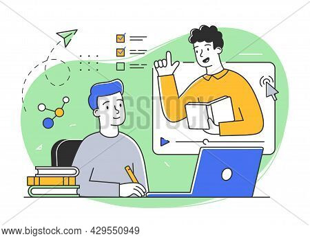 Young Male Character Is Studying Remotely Online. Male And Female Students Taking Part In Activities
