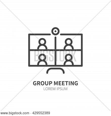 Computer With Four People Conferencing, Online Meeting Line Icon Isolated. Video Conference Concept.