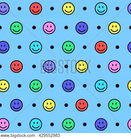 Seamless Pattern With Colorful Smiling Faces On Blue Background. Emoji Background. Smile Line Icon T