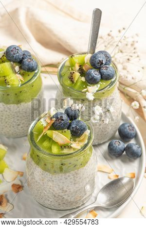 Healthy Breakfast Chia Pudding With Kiwi, Blueberries And Coconut Slices, Three Portions In Glass Ja