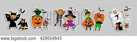 Children In Halloween Costumes. Halloween Kids. Children In Bright Costumes .bright Characters For P