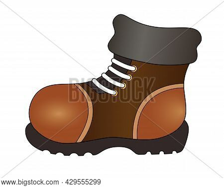 Winter Warm Boot - Vector Silhouette Full Color Illustration. Boot - Shoes With Thick Soles With Lac
