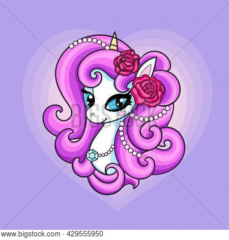 Head Of A White Unicorn With Pink Mane And Roses. Cute Fantasy Animal. For The Design Of Prints, Pos