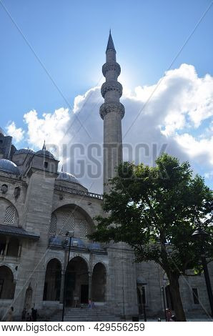 Panoramic View Of The Mosque And Minaret. Summer Day In Istanbul. 09 July 2021, Istanbul, Turkey.