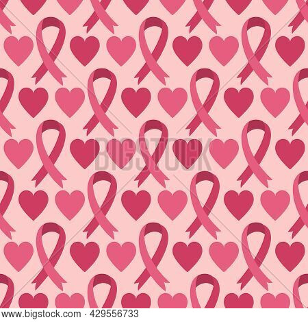 Seamless Pattern With Pink Ribbon - Breast Cancer Awareness Symbol And Hearts. Vector Background. Ba