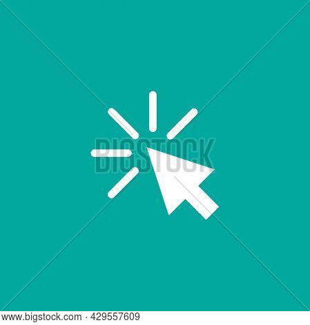 Cursor. Click Or Push The Button Pictogram. Tap Button. Isolated On Blue. Flat Cursor Icon. Vector I
