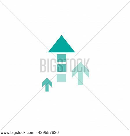 Two Blue Arrows Up On White Background. Launch, Upgraid Icon. Creative Project Start, Business Advan