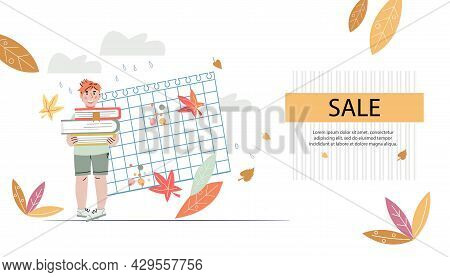 Back To School Webpage Template With Hand Drawn Child Character, Flat Cartoon Vector Illustration. W