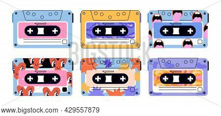 Set Of Cute Retro Vintage Tape Cassettes On White Background. Colorful Audio Tapes. Cassettes With L