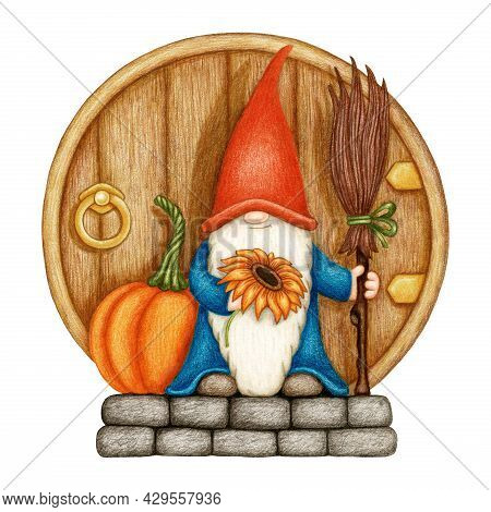 Hand Drawn Gnome In A Orange Cap With Pumpkin, Sunflower And Broom On The Stone Porch And Wooden Doo