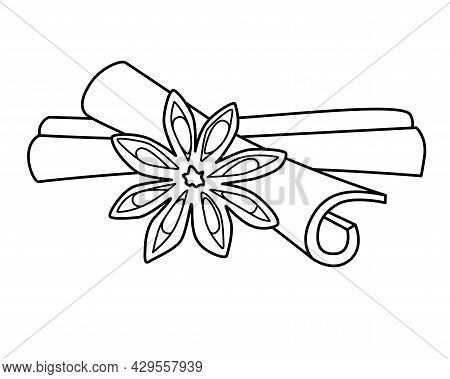 Star Anise And Cinnamon Sticks - Spices Vector Linear Illustration For Coloring Or Logo. Outline. Sp