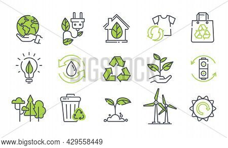 Set Of Ecology Icons On White Background. Concept Of Eco Friendly, Ecology, Green Technology And Env