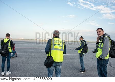 Abakan, Russia - August 08, 2020: Photographers Waiting For An Aircraft Landing At The Airport.