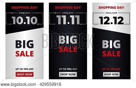 10.10 11.11 12.12 Shopping Day Set. Big Sale Promotion Vertical Banners Collection. 10 October, 11 N