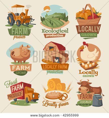 Retro farm emblems