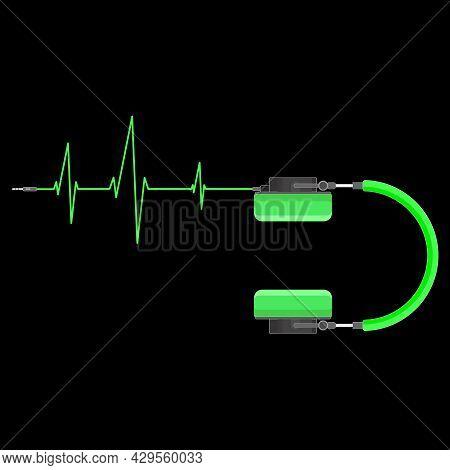 Green Headphones With Heartbeat Icon. Music Studio Or Dj Earphones Neon Style Pulse Symbol. Vector I