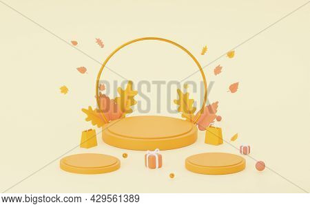 Autumn Orange Podium. For Sales Of Bags, Shoes, And Other Products. 3d Rendering