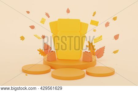 Autumn Orange Podium With Coupons. With Falling Autumn Leaves. 3d Rendering