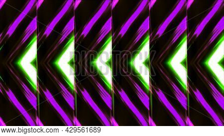 Triangular Pattern With Neon Flickers. Motion. Repeating Pattern Of Triangular Shimmering Lines. Neo
