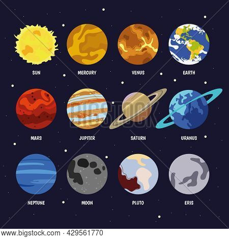 The Planets Of The Solar System Are Labeled With Their Names On Space Posters.  Galaxy, Science, Spa