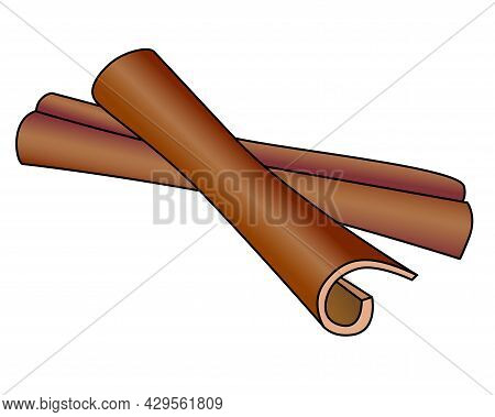 Cinnamon Spices - Vector Full Color Illustration. Cinnamon Sticks Are A Spice, Ingredient For Cookin