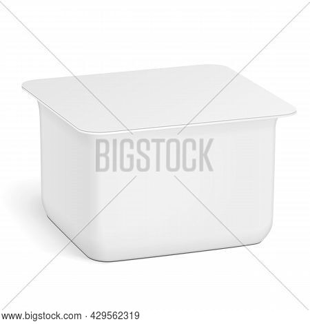 White Empty Blank Styrofoam Plastic Food Tray Container Box Opened, Cover. Illustration Isolated On