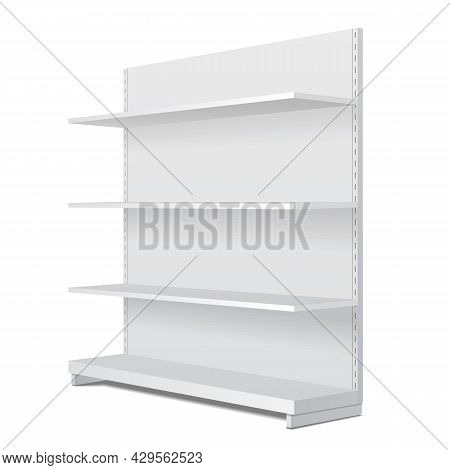 White Blank Empty Showcase Display With Retail Shelves. Perspective View 3d. Illustration Isolated O