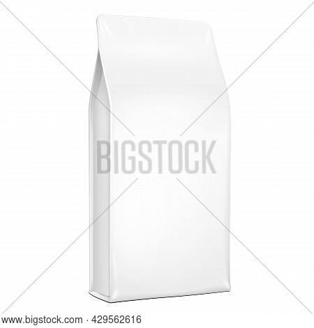 White Plastic, Foil Paper Food Bag Package Of Coffee, Or Flour. Grayscale. Illustration Isolated On
