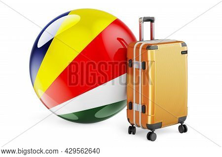 Suitcase With Seychelloise Flag. Seychelles Travel Concept, 3d Rendering Isolated On White Backgroun