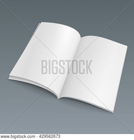 Blank Opened Magazine, Book, Booklet, Brochure. Illustration Isolated On Gray Background. Mock Up Te