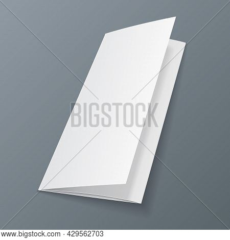 Mockup Blank Trifold Paper Leaflet Mock Up Template Ready For Your Design. Vector Eps10