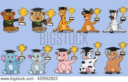 Ten Animals Character With Bring Trophy And Graduate Theme, Colors Background, Mascot, Icon, Charact