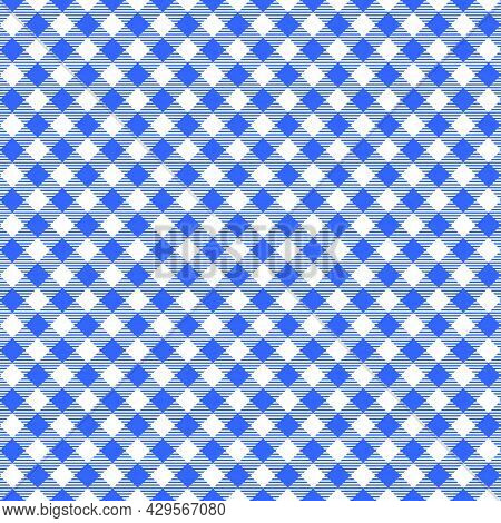 Diagonal Blue And White Gingham Seamless Pattern With Striped Squares. Checkered Texture For Picnic