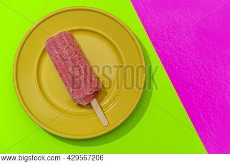 Strawberry Fruity Pink Icepop On Modern Stylized Neon Pink Background