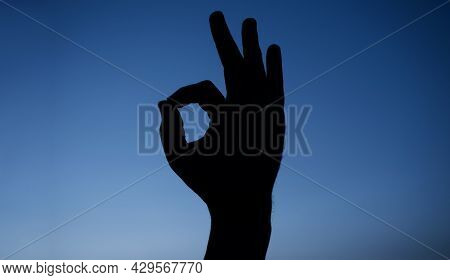 Ok Sign. Man Hand Gesturing Okay. Best Choice Approve And Confirm.