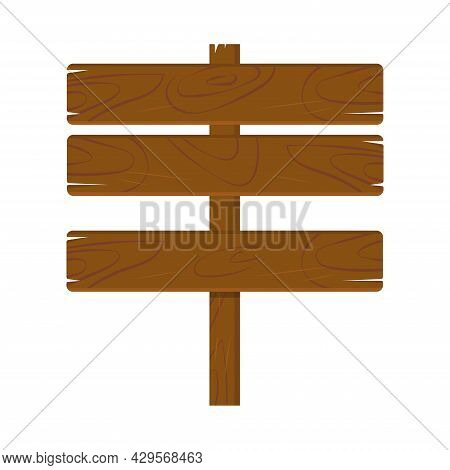 Wooden Plaque Made Of Dark Brown Oak, Billboard Sign Isolated On White Background