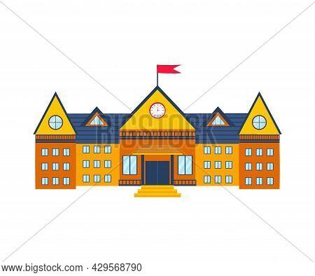 School Building Isolated On White Background. Children Education. High School. Vector Flat Illustrat