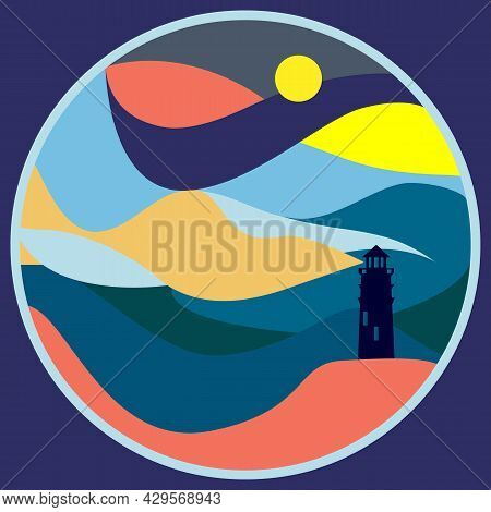 Seashore Landscape With Lighthouse Silhouette And Colorful Background. Waves And Night Sky Abstract