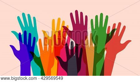 Colorful Up Hands. Charity, Volunteering Or Donating Concept. Raised Up Human Hands. Flat Vector Ill