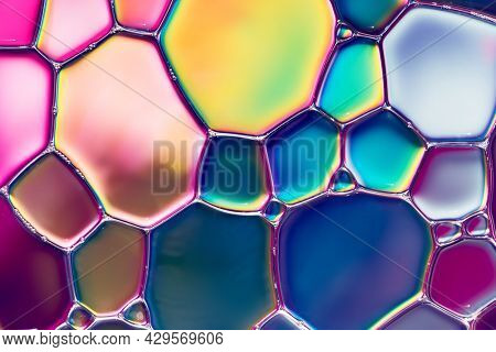 Water bubbles abstract colorful  background, water drops macro.