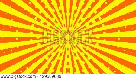 Comic Book Background In Pop Art Style. Retro Sun Rays, Sunbeams, Halftone Texture, Vintage Dotted B