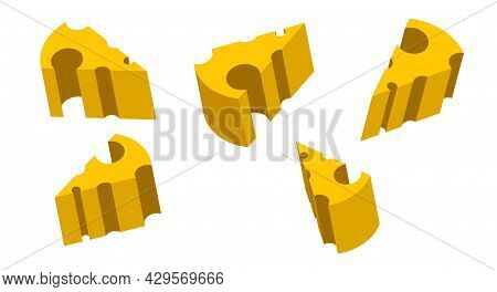 Pieces Of Cheese With Holes In Different Angles. Cartoon Dairy Products Yellow Pieces With Holes. 3d