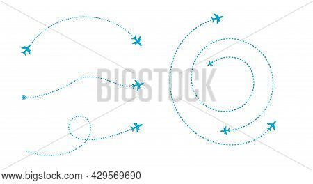 Airplane Line Path Icon. Air Plane Flight Route. Start And Finish Points And Dash Line Trace. Flat V