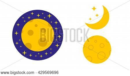 Moon Icon Set. Moon In Space, Crescent Moon With Stars. Moon In Craters. Flat Vector Illustration Is