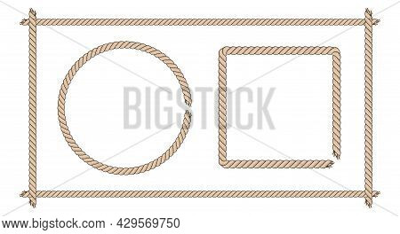 Square And Round Frames Made Of Thick Brown Rope. Rope Border Set. Flat Vector Illustration Isolated