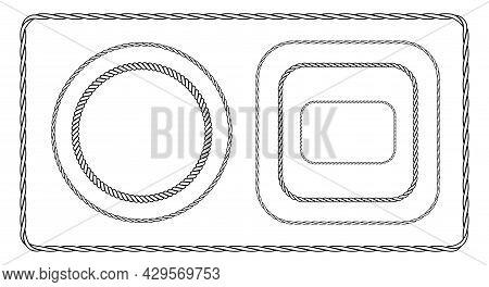 Monochrome Rope Frame Set. Flat Vector Illustration Isolated On White Background.