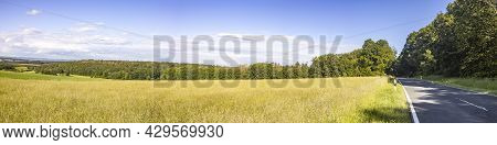Idyllic Panorama From Farmland And Meadows In Hesse Germany